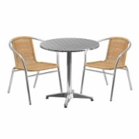 27.5'' Round Aluminum Table Set with 2 Beige Rattan Chairs - TLH-ALUM-28RD-020BGECHR2-GG - 1