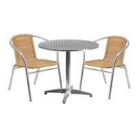 31.5'' Round Aluminum Table Set with 2 Beige Rattan Chairs - TLH-ALUM-32RD-020BGECHR2-GG - 1