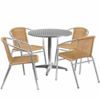 31.5'' Round Aluminum Table Set with 4 Beige Rattan Chairs - TLH-ALUM-32RD-020BGECHR4-GG - 1