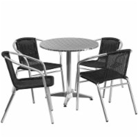 27.5'' Round Aluminum Table Set with 4 Black Rattan Chairs - TLH-ALUM-28RD-020BKCHR4-GG - 1