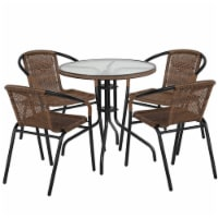 Flash Furniture 28  Round Glass Metal Table with 4 Dark Brown Rattan Stack Chairs - 1 unit