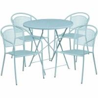 """Flash Furniture 5 Piece 30"""""""" Round Steel Flower Print Patio Dining Set in Blue - 1"""