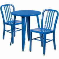 Flash Furniture CH-51080TH-2-18VRT-BL-GG 24 in. Round Blue Metal Indoor & Outdoor Table Set w