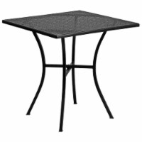 "Flash Furniture 3 Piece 28"""" Square Steel Flower Print Patio Dining Set in Black - 1"