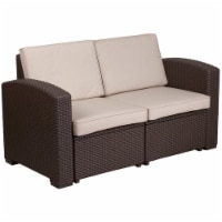 Flash Furniture Wicker Patio Loveseat in Chocolate Brown and Beige