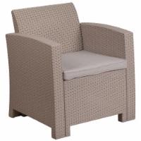 Flash Furniture Wicker Patio Chair in Light Gray - 1