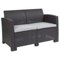 Flash Furniture Wicker Patio Loveseat in Dark Gray