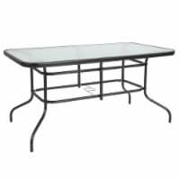 Flash Furniture 55X31.5 Glass Metal Table In Clear Top Black Frame - 1