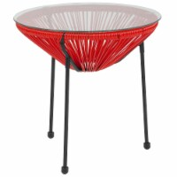 Flash Furniture Valencia Glass Top Patio End Table in Red and Black - 1