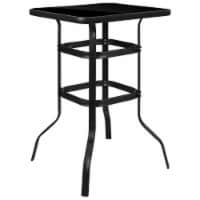 """Flash Furniture 27.5"""""""" Square Tempered Glass Top Patio Bar Table in Black"""