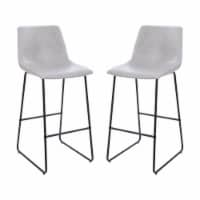 Flash Furniture 30 Inch LeatherSoft Bar Height Barstools in Light Gray, Set of 2 - 1 unit