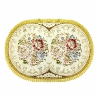 Wrapables 18.5 x 13 Inch Oval Vintage Floral Placemat with Gold Embroidery, Romantic - 1