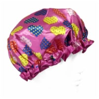 Wrapables Trendy Satin Shower Cap, Dottie Hearts - 1