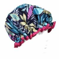 Wrapables Trendy Satin Shower Cap, Twilight Leaves - 1