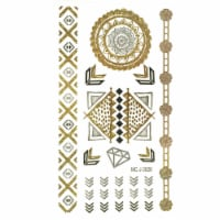 Wrapables Metallic Celebrity Inspired Temporary Tattoos, Meso, Small - 1