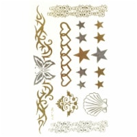 Wrapables Metallic Celebrity Inspired Temporary Tattoos, Carefree, Small - 1