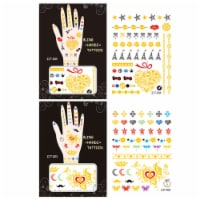 Wrapables Trendy Temporary Metallic Hand Tattoos, Hearts - 2 Sheets