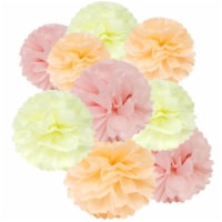 Wrapables Set of 18 Tissue Pom Pom Party Decorations, Peach/Ivory/Light Pink - 18 pieces