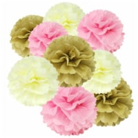 Wrapables Set of 18 Tissue Pom Pom Party Decorations, Pink/Ivory/Tan - 18 pieces