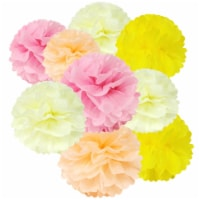 Wrapables Set of 12 Tissue Pom Pom Party Decorations, Pink/Peach/Ivory/Yellow - 12 pieces