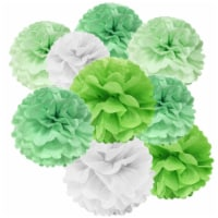 Wrapables Set of 12 Tissue Pom Pom Party Decorations, Mint/Sea Green/White/Lime Green - 12 pieces