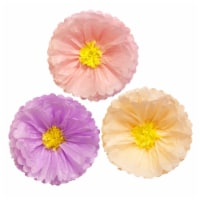 Wrapables Set of 3 Tissue Flower Pom Poms Party Decorations, Peach, Light Pink, Lilac - 3 pieces