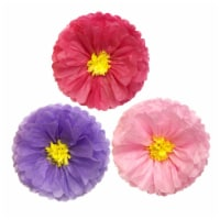 Wrapables Set of 3 Tissue Flower Pom Poms Party Decorations, Purple Pink, Hot Pink - 3 pieces