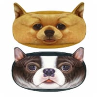 Wrapables Dog Face Zippered Pencil Case (Set of 2), Chihuahua & Bulldog - 2 Pieces