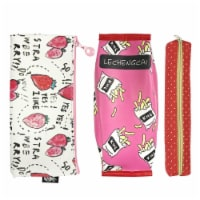 Wrapables Trendy Food Pencil Case and Stationery Pouches (Set of 3), Red - 3 Pieces