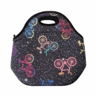 Wrapables Insulated Neoprene Lunch Bag, Bikes in Space - 1