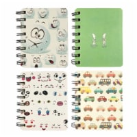 Wrapables Novelty Spiral Notebooks Journals Stationery (Set of 4), Cars and Emoji - 4 Sets