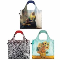 LOQI Assorted Museum Reusable Bags (Set of 3), Milkmaid / Sunflowers / Untitled - 3 Pieces