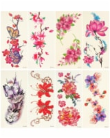 Wrapables Floral Temporary Tattoos Body Art Water Tattoos (8 Sheets), Pink Floral - 8 Sheets