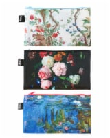 LOQI Museum Chinese Décor, Sunflowers, Water Lilies Zip Pockets (Set of 3) - 3 Pieces