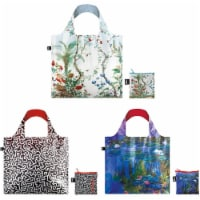 LOQI Museum Famous Paintings Reusable Bags, Set of 3, Chinese Décor/ Untitled/ Water Lilies - 3 Pieces