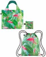 LOQI Exotic Prints Backpack & Bag (Set of 2), Wild Flamingos - 2 Pieces