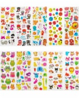 Wrapables 3D Puffy Stickers for Scrapbooking, (10 Sheets) Zoo Animals Kitties Doggies Owls - 10 Sheets