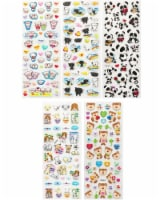 Wrapables 3D Puffy Stickers for Scrapbooking, (5 Sheets) Piggies Kitties & Pandas - 5 Sheets