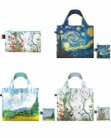 LOQI Museum Reusable Bags with Zip Pocket, Set of 3, Vang Gogh, Chinese D�cor - 3 Pieces