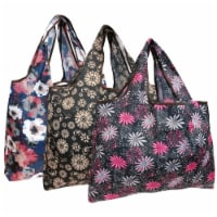 Wrapables Large Nylon Reusable Shopping Bags (Set of 3), Bright Floral - 3 Pieces