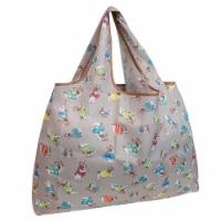 Wrapables Large Nylon Reusable Shopping Bag, Gray French Bulldogs - 1