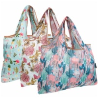 Wrapables Large Nylon Reusable Shopping Bags (Set of 3), Cacti & Chrysanthemums - 3 Pieces