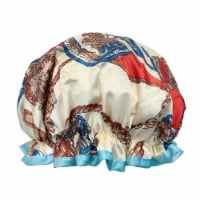 Wrapables Reusable Women's Waterproof Shower Caps for Long Hair, Royal - 1