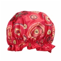 Wrapables Reusable Women's Waterproof Shower Caps for Long Hair, Red Circle - 1