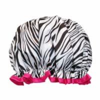 Wrapables Reusable Women's Waterproof Shower Caps for Long Hair, Zebra - 1