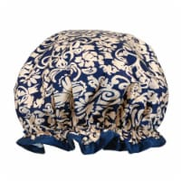 Wrapables Reusable Women's Waterproof Shower Caps for Long Hair, Damask - 1
