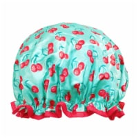 Wrapables Reusable Women's Waterproof Shower Caps for Long Hair, Cherries - 1