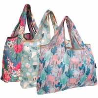 Wrapables Large Nylon Reusable Shopping Bags (Set of 3), Flowers & Cactus - 3 Pieces