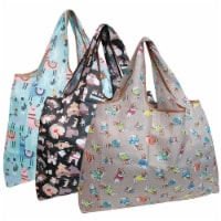 Wrapables Large Nylon Reusable Shopping Bags (Set of 3), Dogs & Llamas - 3 Pieces