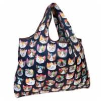 Wrapables Large Nylon Reusable Shopping Bag, Crazy Cats - 1
